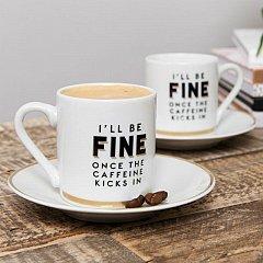 Brewmaster Espresso Mug & Saucer Stoneware Set