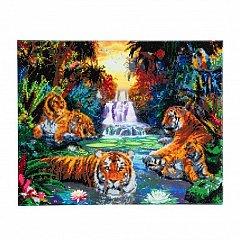 Tablou creativ cu cristale,Tigrii in jungla