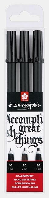Marker pt caligrafie,Sakura Pigma,3buc/set,black