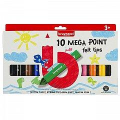 Marker pt copii,Bruynzeel,Mega Point,10buc/set