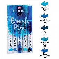 Marker varf pensula,Ecoline,5buc/set,blue