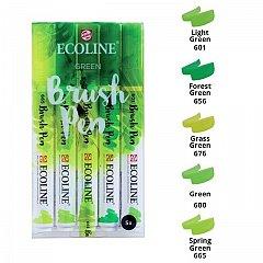 Marker varf pensula,Ecoline,5buc/set,green