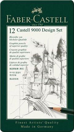 Creion grafit,Castell 9000 Design,12buc/cut.metal