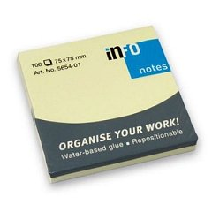 Notite adezive Info Notes,75x75mm,100 file,galben