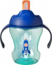 Tommee Tippee, Cana First Drink cu pai, 230ml, racheta albastra