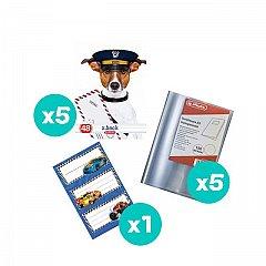 Set 5 caiete A5, 48 file, dictando, Cool Dog + coperti + etichete