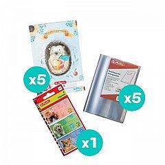 Set 5 caiete A5, 48 file, matematica, Enjoy + coperti + etichete