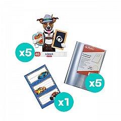 Set 5 caiete A5, 48 file, matematica, Cool Dog + coperti + etichete