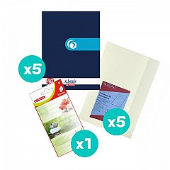 Set 5 caiete A4, 48 file, dictando, Rainbow + coperti + etichete
