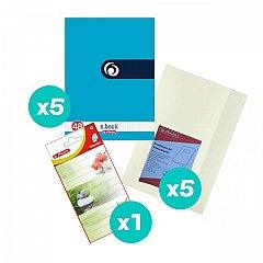 Set 5 caiete A4, 48 file, matematica, Rainbow + coperti + etichete