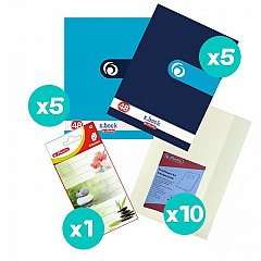 Set 10 caiete A4, 48 file, Rainbow + coperti + etichete