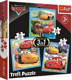 Puzzle Trefl 3 in 1 - Cars, Pregatiri pentru cursa
