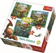 Puzzle Trefl 3 in 1 - Lumea extraordinara a dinozaurilor