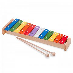 Xilofon Metallophone, 12 note colorate,New Classic Toys