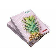 Agenda A5, datata 2021, Zentangle, 352 pagini, motiv Pineapple