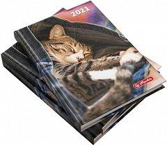 Agenda A5, datata 2021, Zentangle, 352 pagini, motiv Kitty