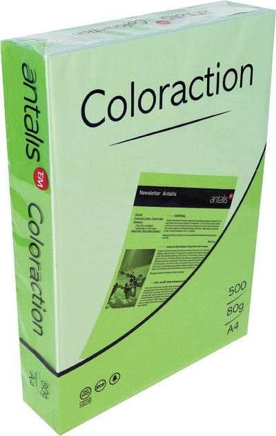 Hartie color A4, 80 g/mp , 500 coli/top, verde intens, Coloraction