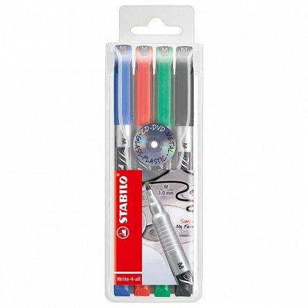 Marker perm.Stabilo Write-4-all,M,4buc/set