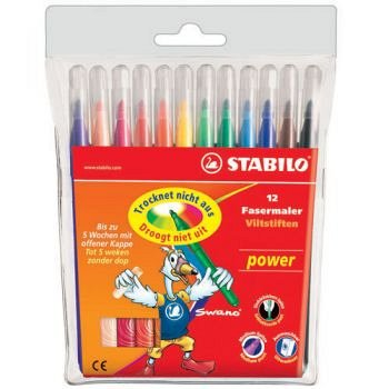 Marker pt copii Stabilo Power max,12b/set