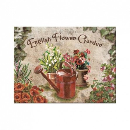 MAGNET ENGLISH FLOWER GARDEN RED CAN