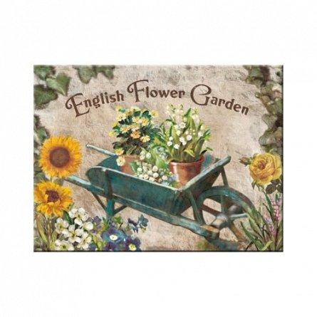 MAGNET ENGLISH FLOWER GARDEN BLUE BARROW