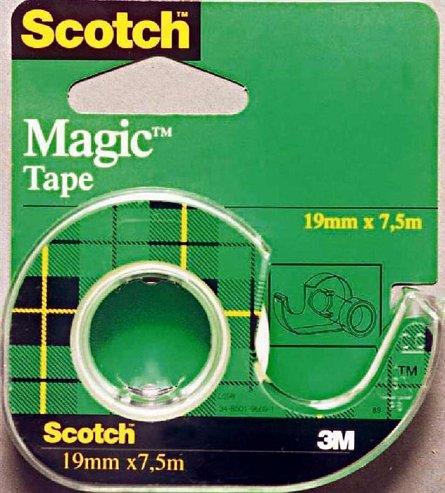 Banda adeziva Scotch, 19  mm x 7.5 m, Magic, dispenser