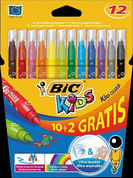 Markere pt copii,10+2b/s,Bic KidCouleur