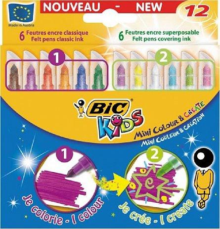 Markere pt copii,12b/s,Bic MiniColour&Create