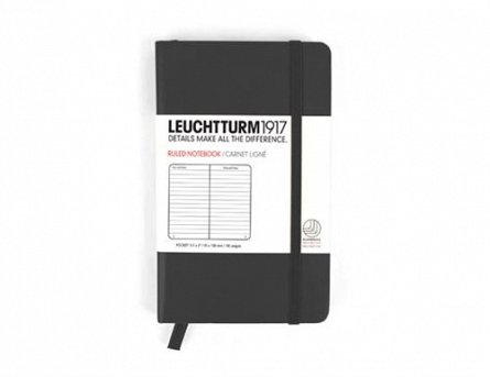 Caiet Leuchtturm A6,185f,dict,negru