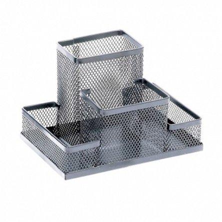 Suport accesorii birou Memoris Precious, mesh, argintiu