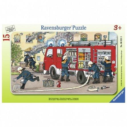Puzzle Ravensburger - Masina de pompieri, 15 piese