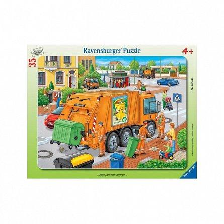 Puzzle Ravensburger - Masina de colectat gunoi, 35 piese