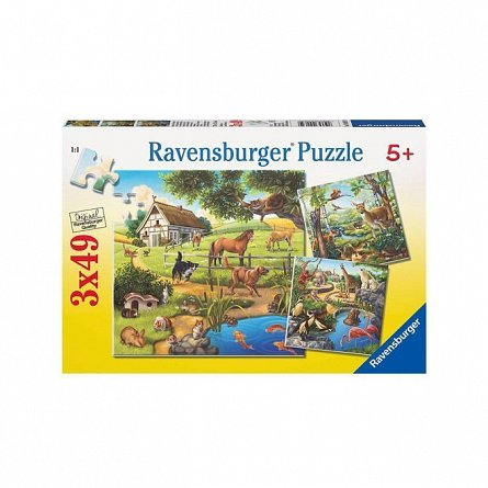 Puzzle Ravensburger - Paudre, zoo si animale domestice, 3x49 piese