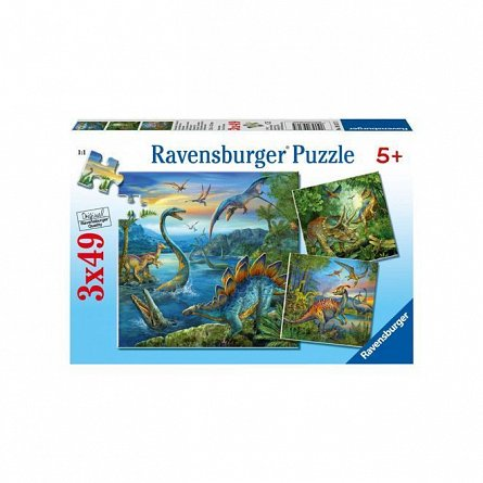 Puzzle Ravensburger - Farmecul dinozaurilor, 3x49  piese
