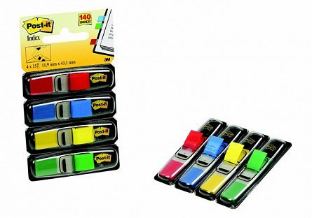 Index adeziv  Post-it, 12 x 43 mm, 4 x 35 file, culori neon 1