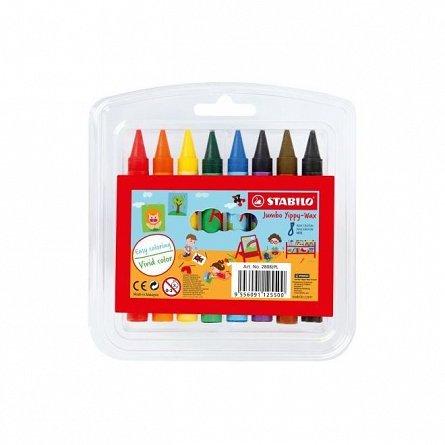 Creioane cerate Stabilo Yippy-wax 8b/s+semn