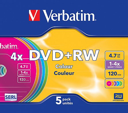 DVD+RW 4x,4.7GB,color slim,5buc/set,Verbatim