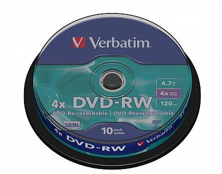 DVD-RW 4x,4.7GB,10buc/cake,Verbatim