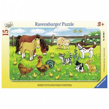 Puzzle Ravensburger - Animale pe pajiste, 15 piese