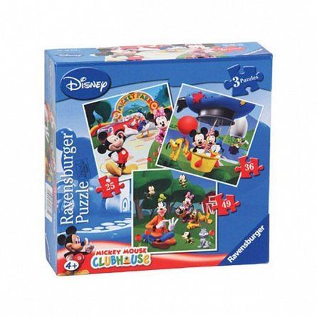 Puzzle Ravensburger - Clubul Mickey Mouse, 3 buc in cutie, 25/36/49 piese