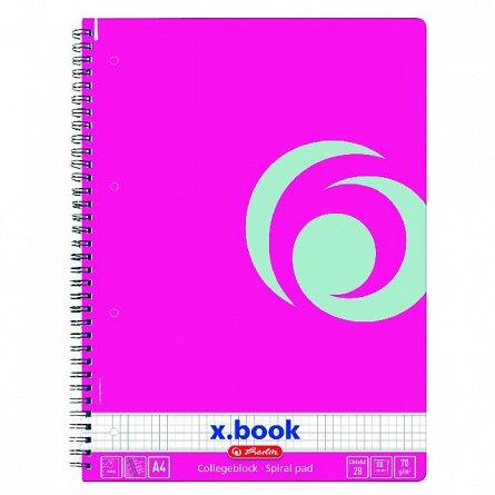 Caiet spira A4,80file,mate,roz electrizant