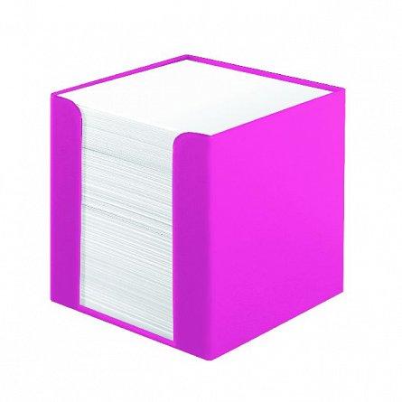 Cub hartie Herlitz, 90 x 90 mm, 700 file, cu suport, roz electrizant