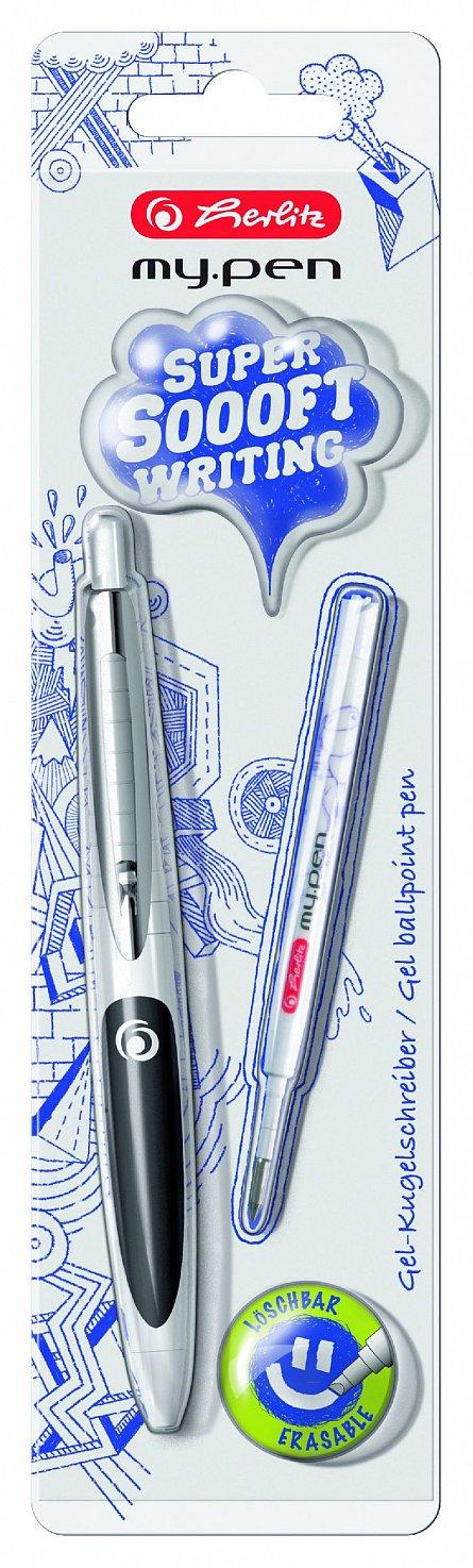 Pix cu gel My.Pen,corp alb/negru