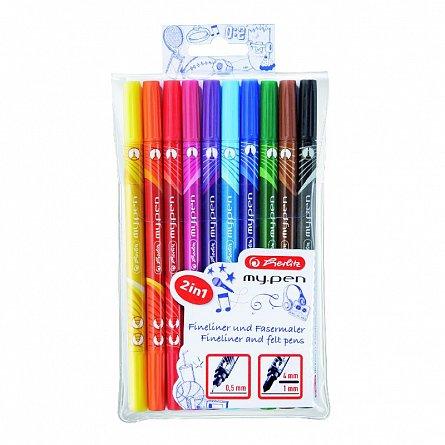 Markere pt copii,10buc/set,2 varfuri,My.Pen