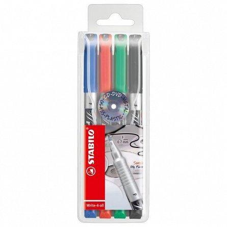Marker perm.Stabilo Write-4-all,F,4buc/set