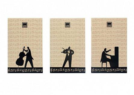 Carnetel 9x14cm,30f,3buc/set,Music