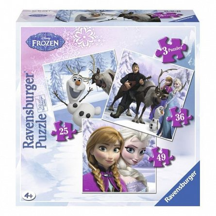 Puzzle Ravensburger - Frozen, Anna, Elsa si prietenii, 25/36/49  piese