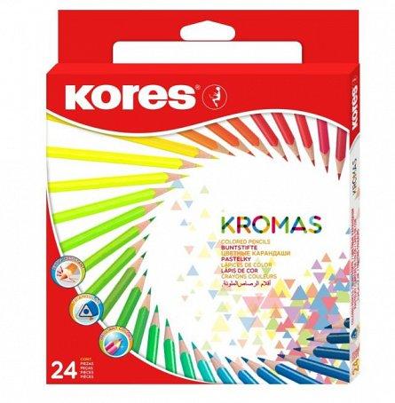 Creioane colorate,24/set,triunghi,Kromas