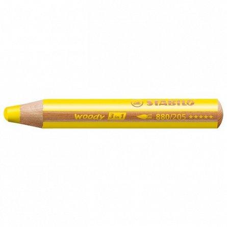 Creion colorat,3in1,Stabilo Woody,galbene