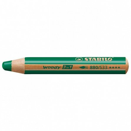 Creion colorat,3in1,Stabilo Woody,verde inchis